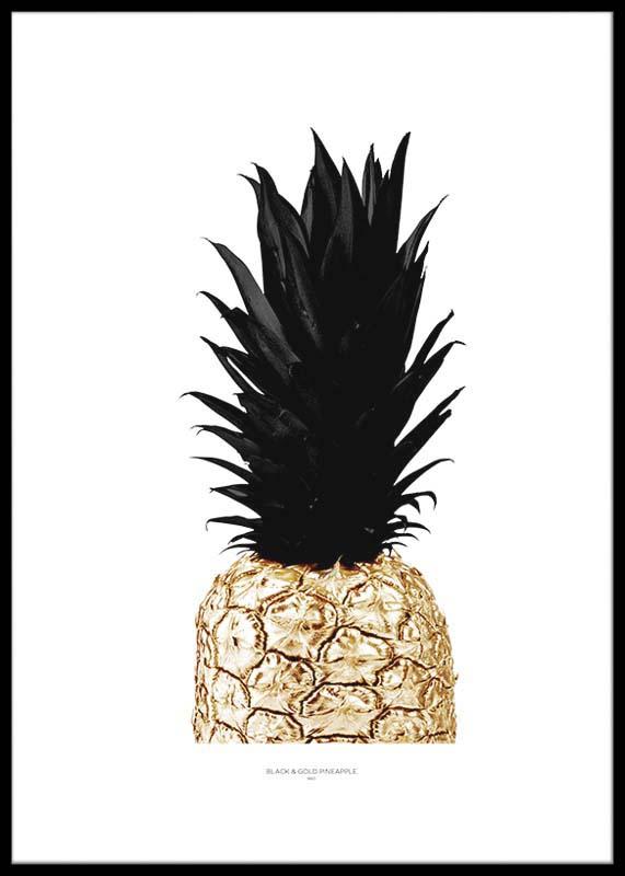Snygg Ananas I Svart Amp Guld Hos Canvaspicasso